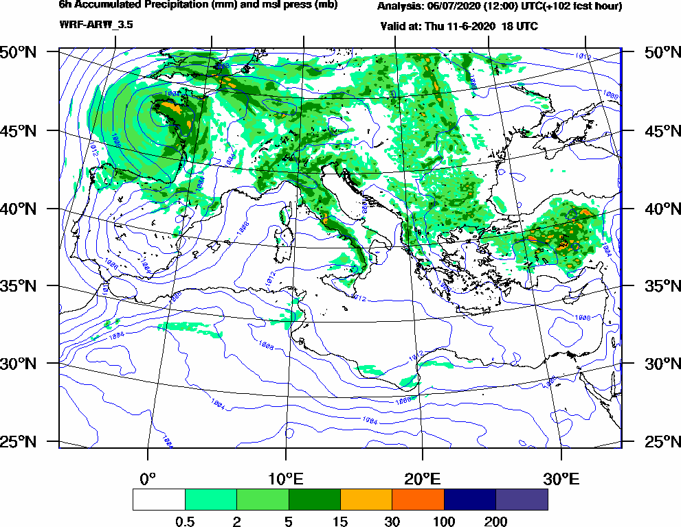 6h Accumulated Precipitation (mm) and msl press (mb) - 2020-06-11 12:00