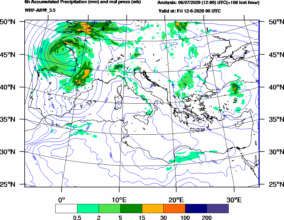 6h Accumulated Precipitation (mm) and msl press (mb) - 2020-06-11 18:00