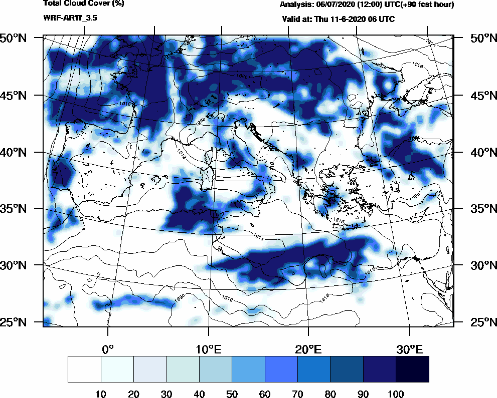 Total cloud cover (%) - 2020-06-11 00:00