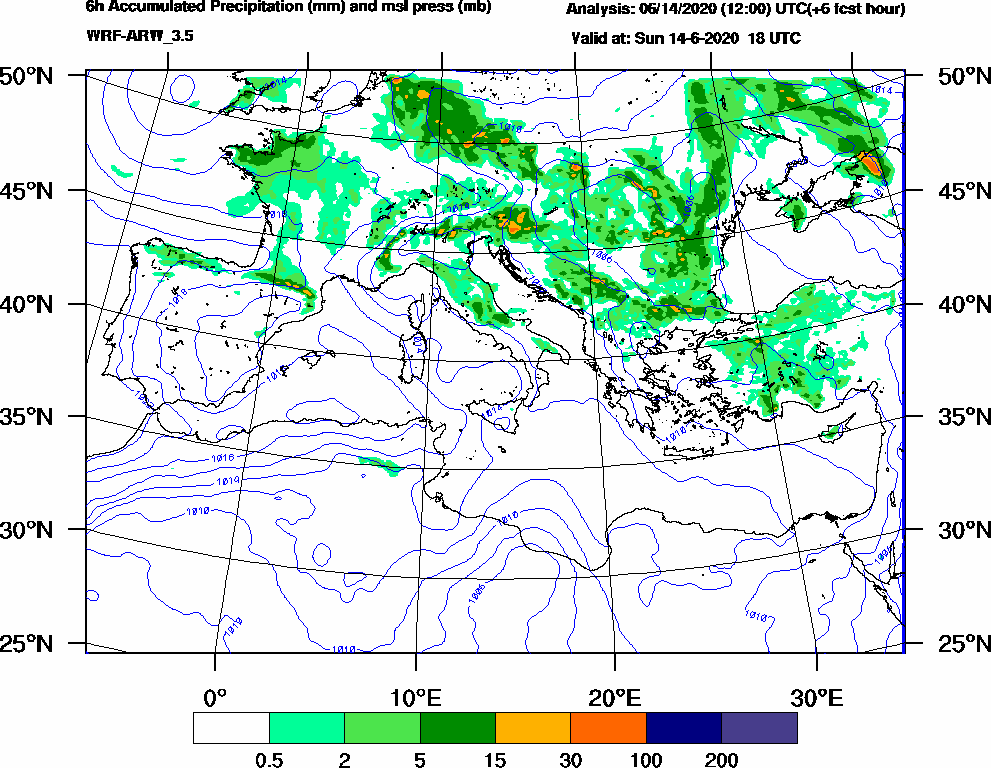 6h Accumulated Precipitation (mm) and msl press (mb) - 2020-06-14 12:00