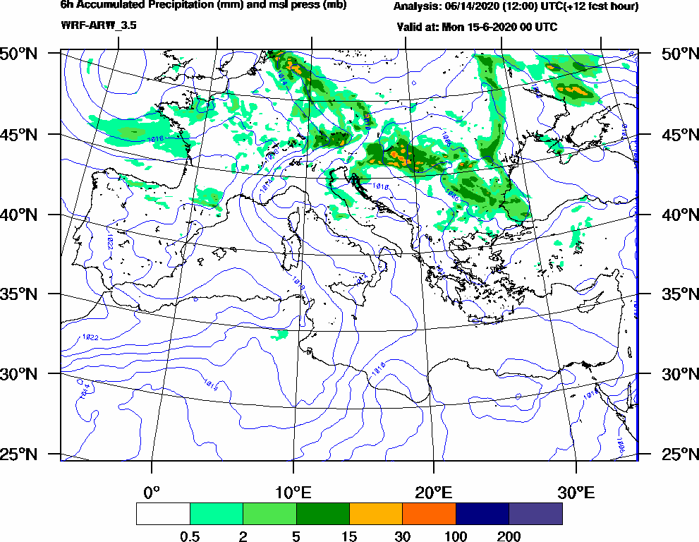 6h Accumulated Precipitation (mm) and msl press (mb) - 2020-06-14 18:00