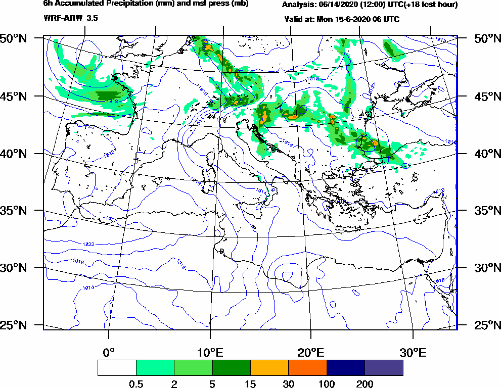6h Accumulated Precipitation (mm) and msl press (mb) - 2020-06-15 00:00