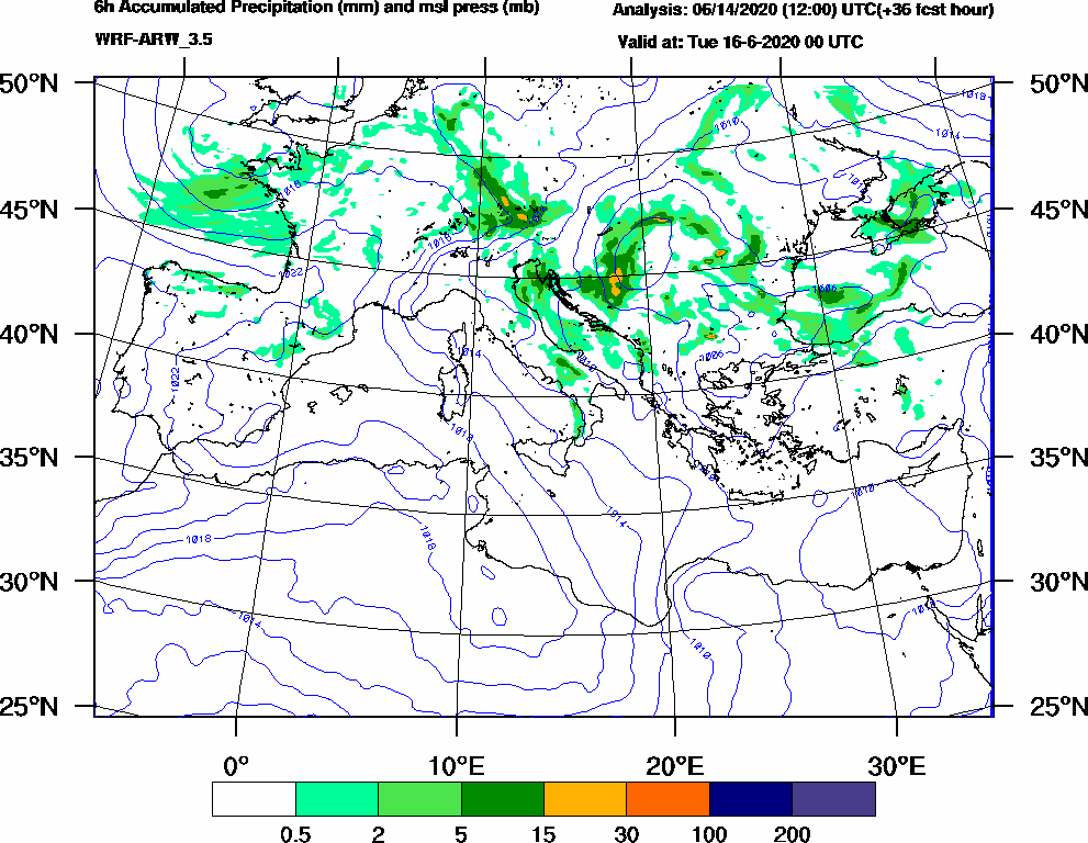 6h Accumulated Precipitation (mm) and msl press (mb) - 2020-06-15 18:00