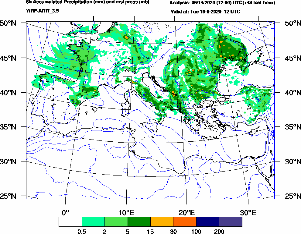 6h Accumulated Precipitation (mm) and msl press (mb) - 2020-06-16 06:00