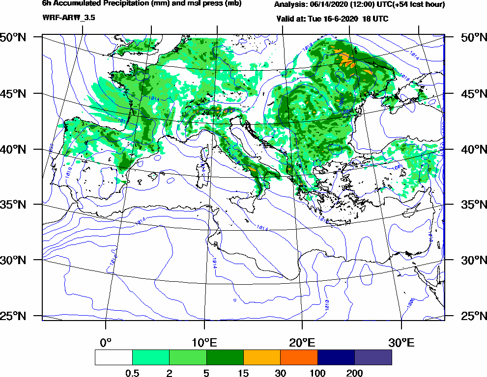 6h Accumulated Precipitation (mm) and msl press (mb) - 2020-06-16 12:00