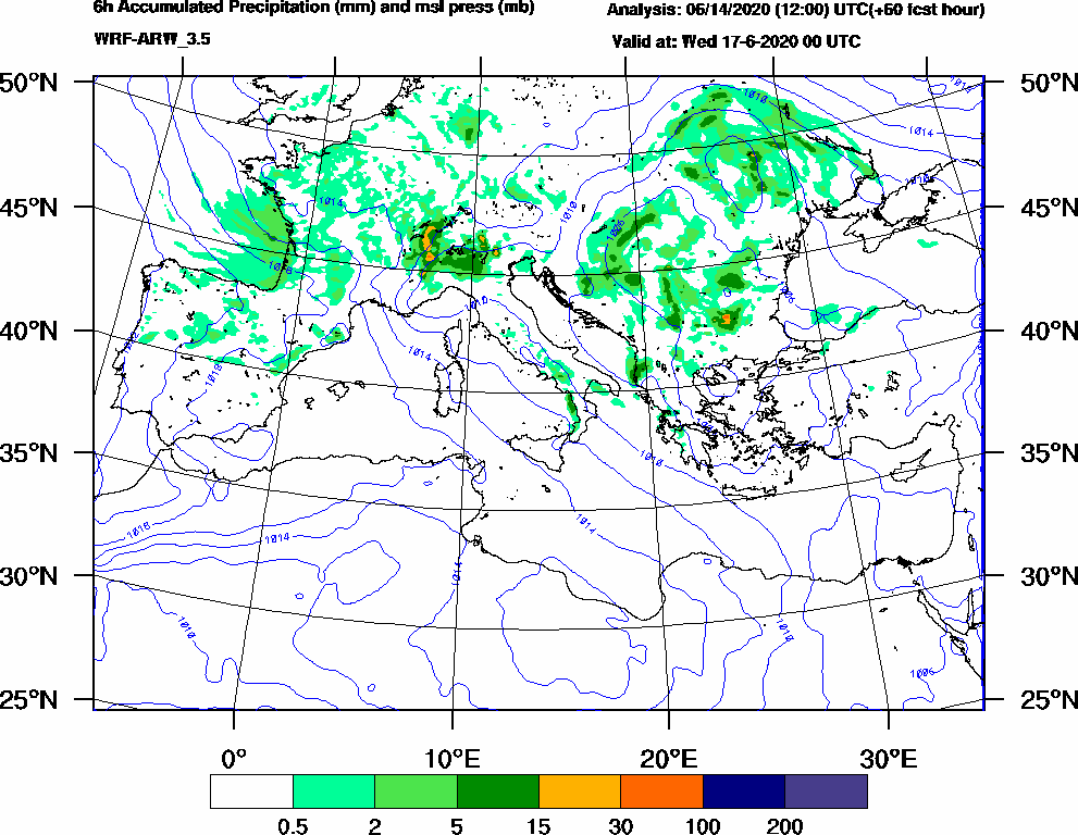 6h Accumulated Precipitation (mm) and msl press (mb) - 2020-06-16 18:00