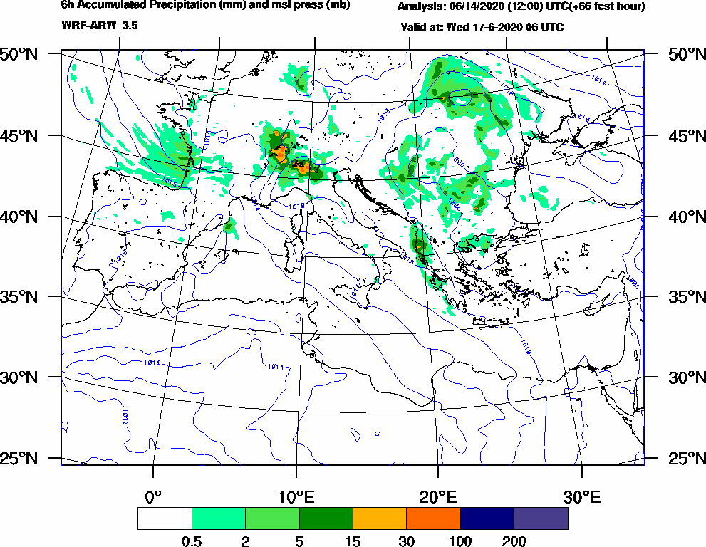 6h Accumulated Precipitation (mm) and msl press (mb) - 2020-06-17 00:00