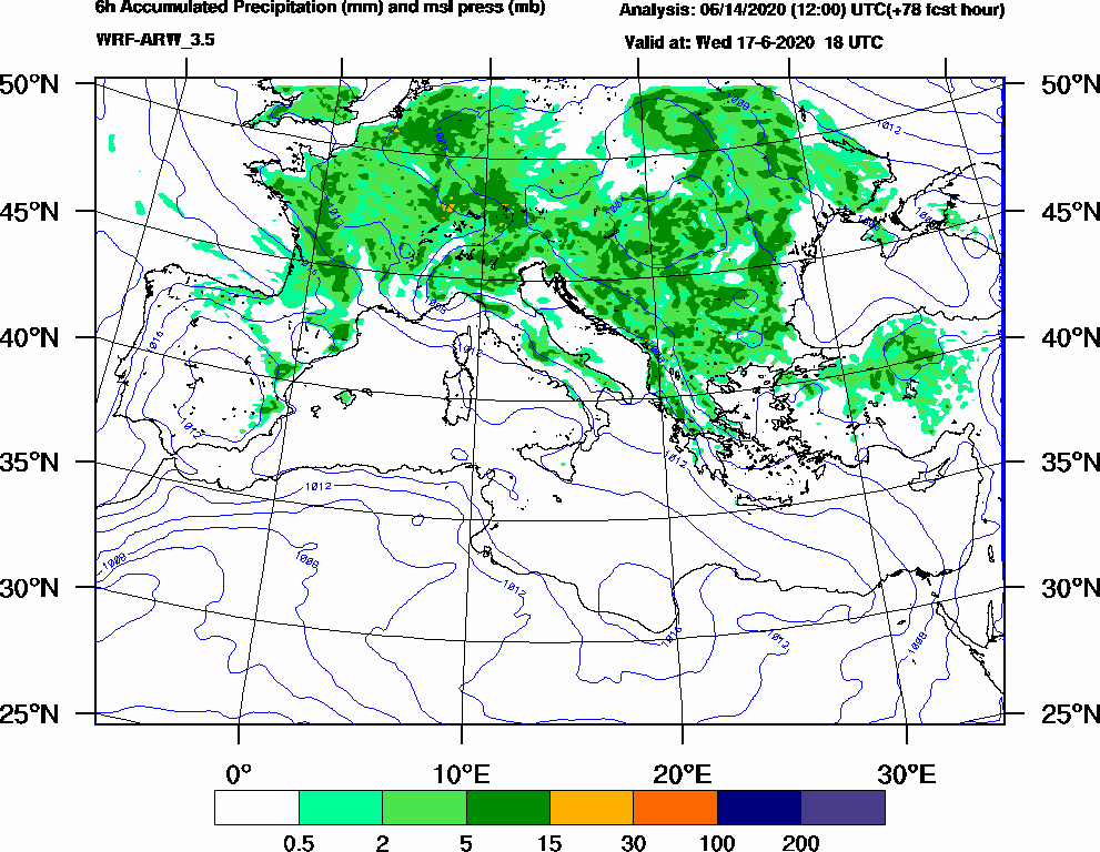 6h Accumulated Precipitation (mm) and msl press (mb) - 2020-06-17 12:00