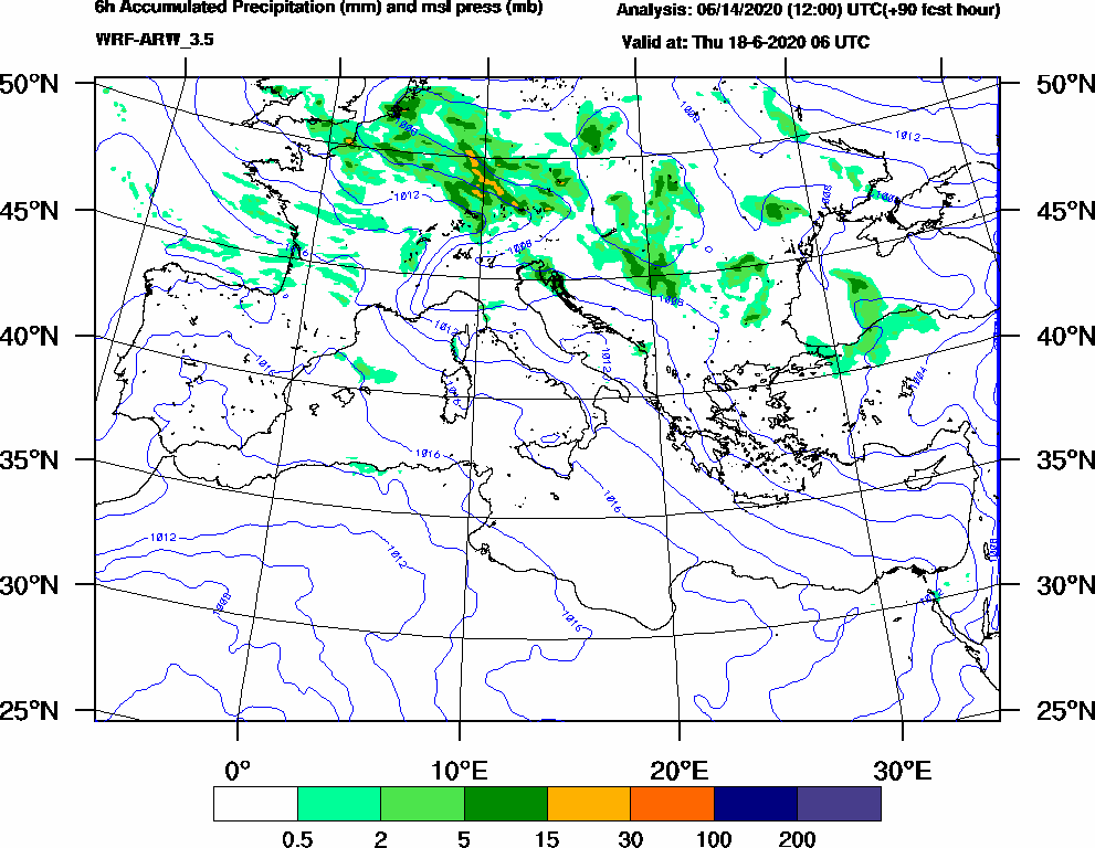 6h Accumulated Precipitation (mm) and msl press (mb) - 2020-06-18 00:00
