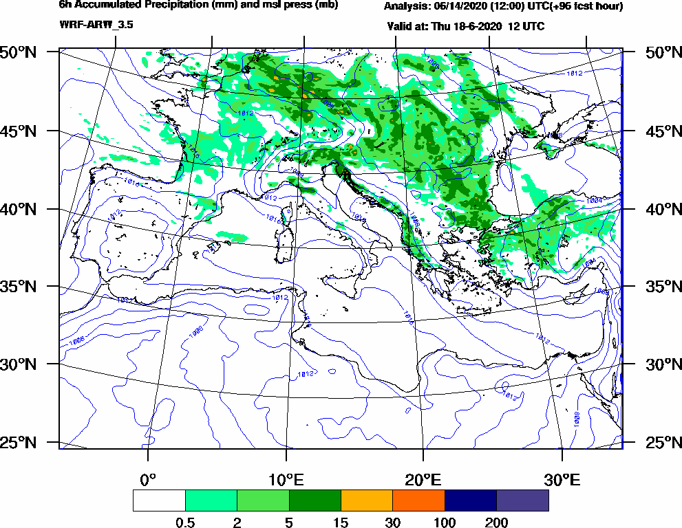 6h Accumulated Precipitation (mm) and msl press (mb) - 2020-06-18 06:00