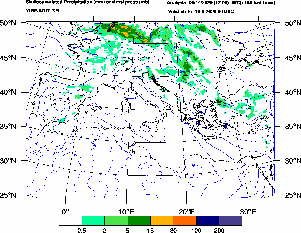 6h Accumulated Precipitation (mm) and msl press (mb) - 2020-06-18 18:00