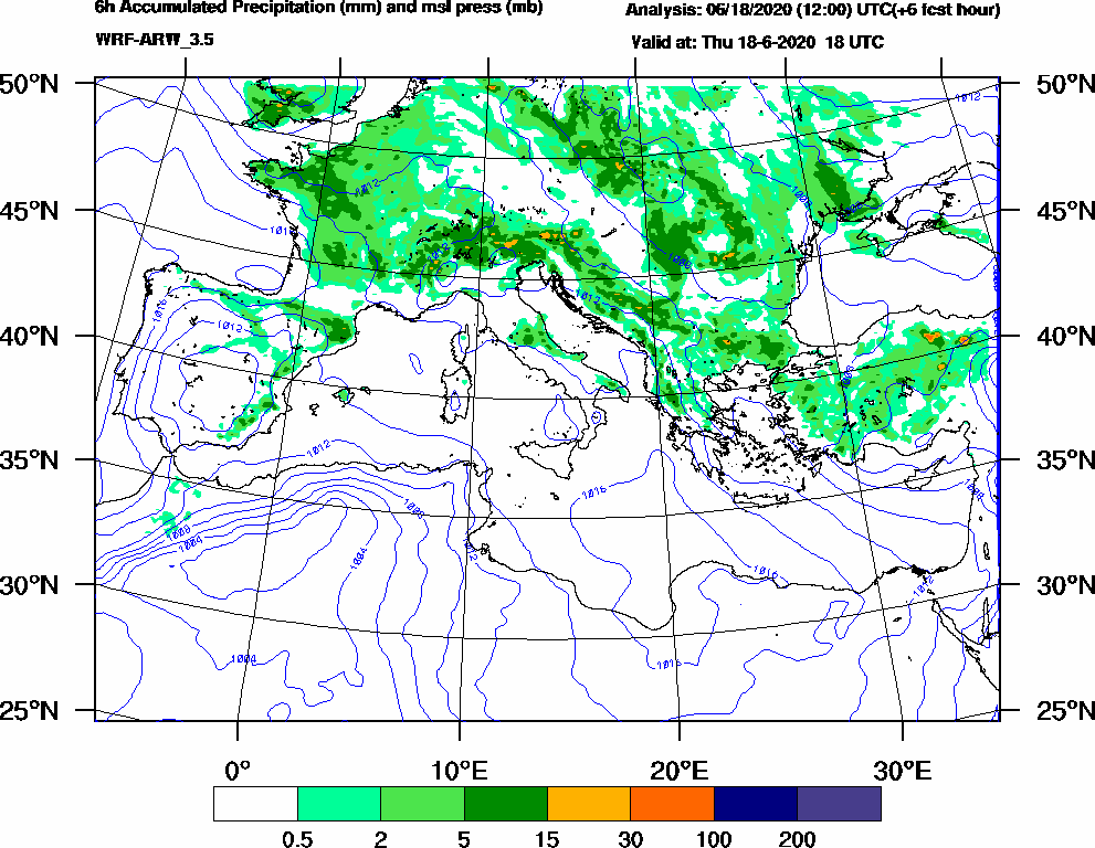 6h Accumulated Precipitation (mm) and msl press (mb) - 2020-06-18 12:00
