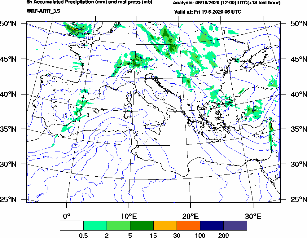6h Accumulated Precipitation (mm) and msl press (mb) - 2020-06-19 00:00