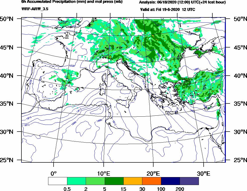 6h Accumulated Precipitation (mm) and msl press (mb) - 2020-06-19 06:00