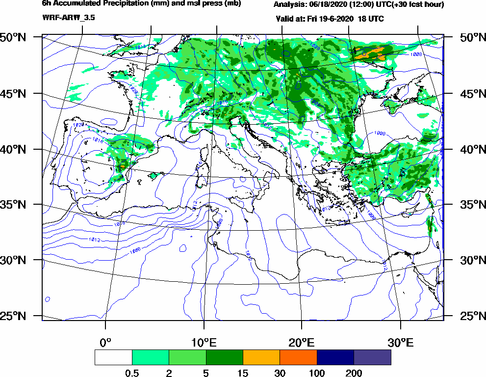 6h Accumulated Precipitation (mm) and msl press (mb) - 2020-06-19 12:00