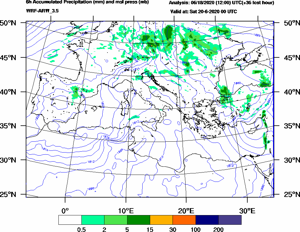 6h Accumulated Precipitation (mm) and msl press (mb) - 2020-06-19 18:00
