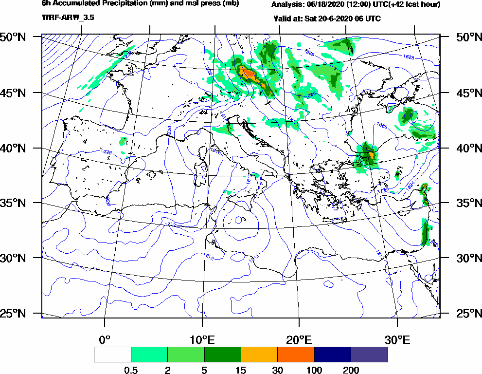 6h Accumulated Precipitation (mm) and msl press (mb) - 2020-06-20 00:00