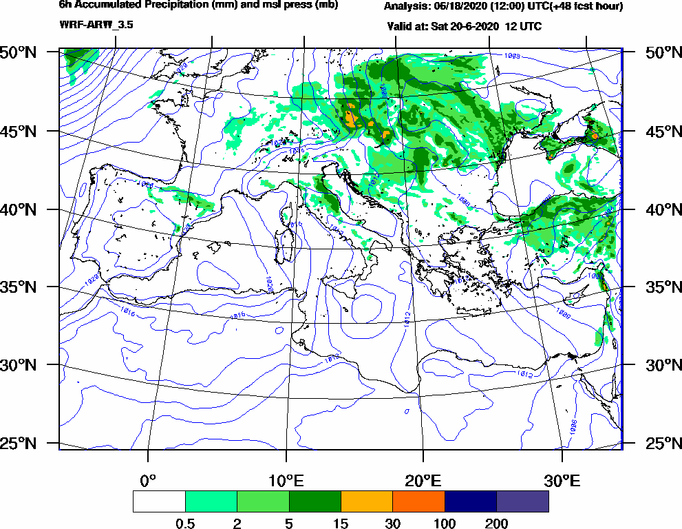 6h Accumulated Precipitation (mm) and msl press (mb) - 2020-06-20 06:00