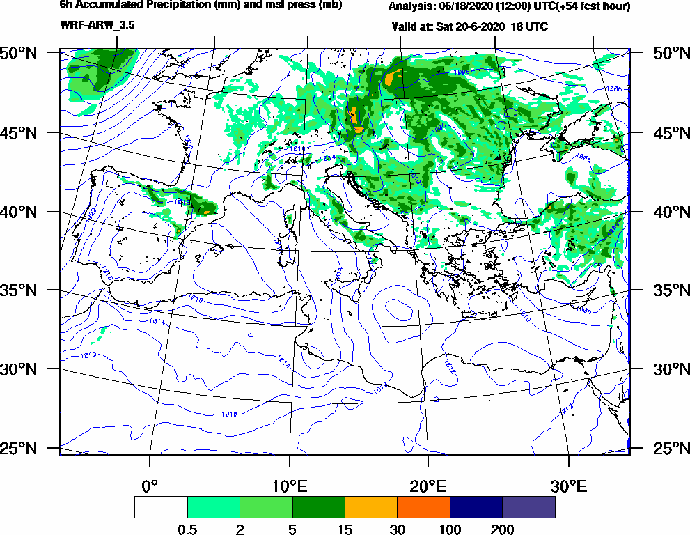 6h Accumulated Precipitation (mm) and msl press (mb) - 2020-06-20 12:00