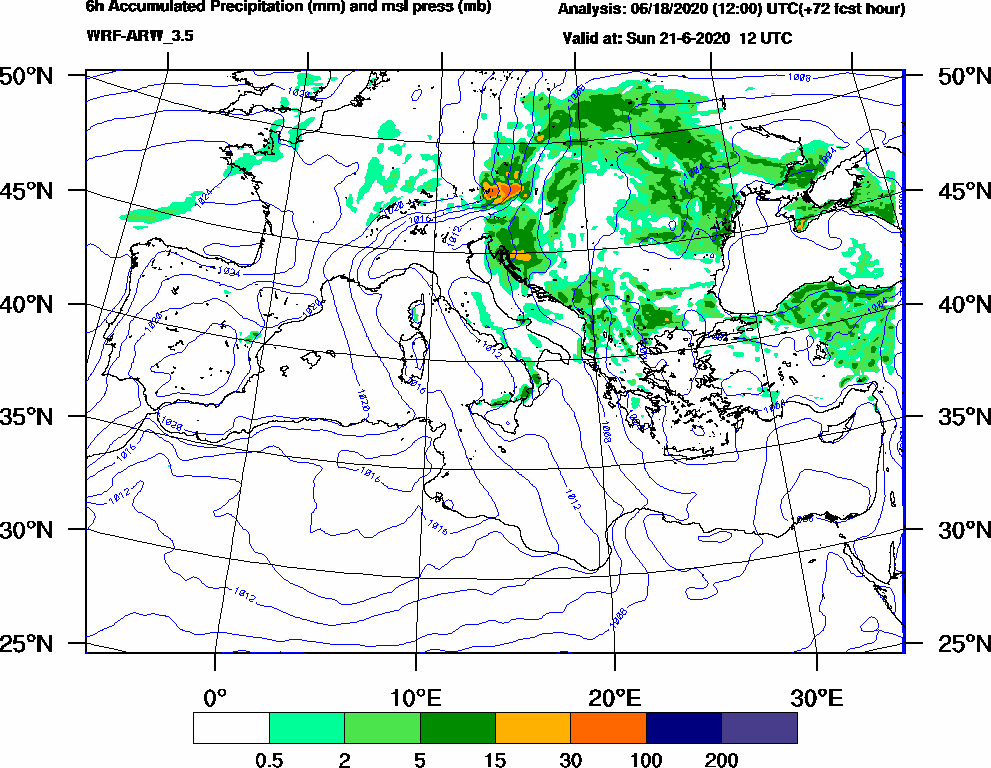 6h Accumulated Precipitation (mm) and msl press (mb) - 2020-06-21 06:00