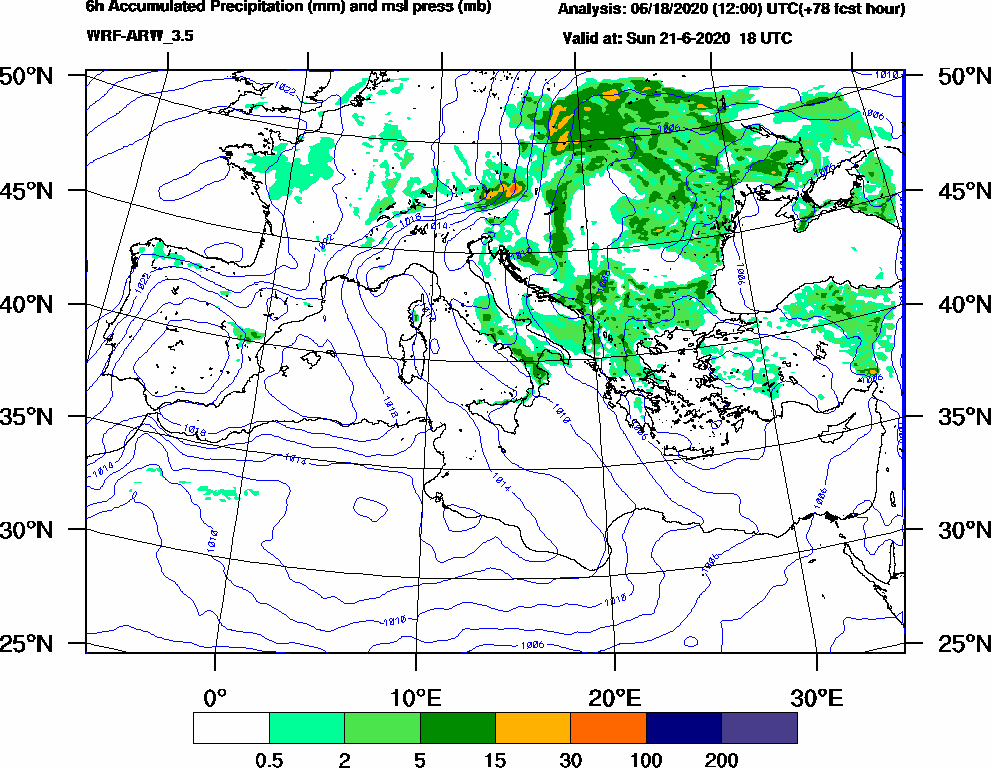 6h Accumulated Precipitation (mm) and msl press (mb) - 2020-06-21 12:00
