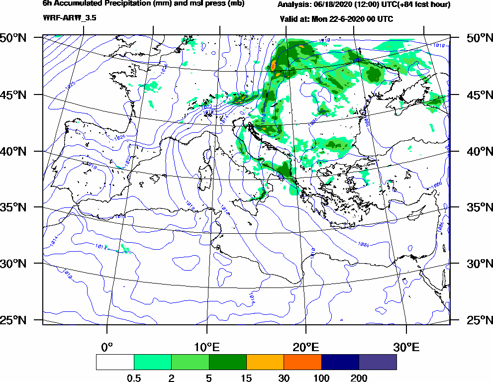 6h Accumulated Precipitation (mm) and msl press (mb) - 2020-06-21 18:00