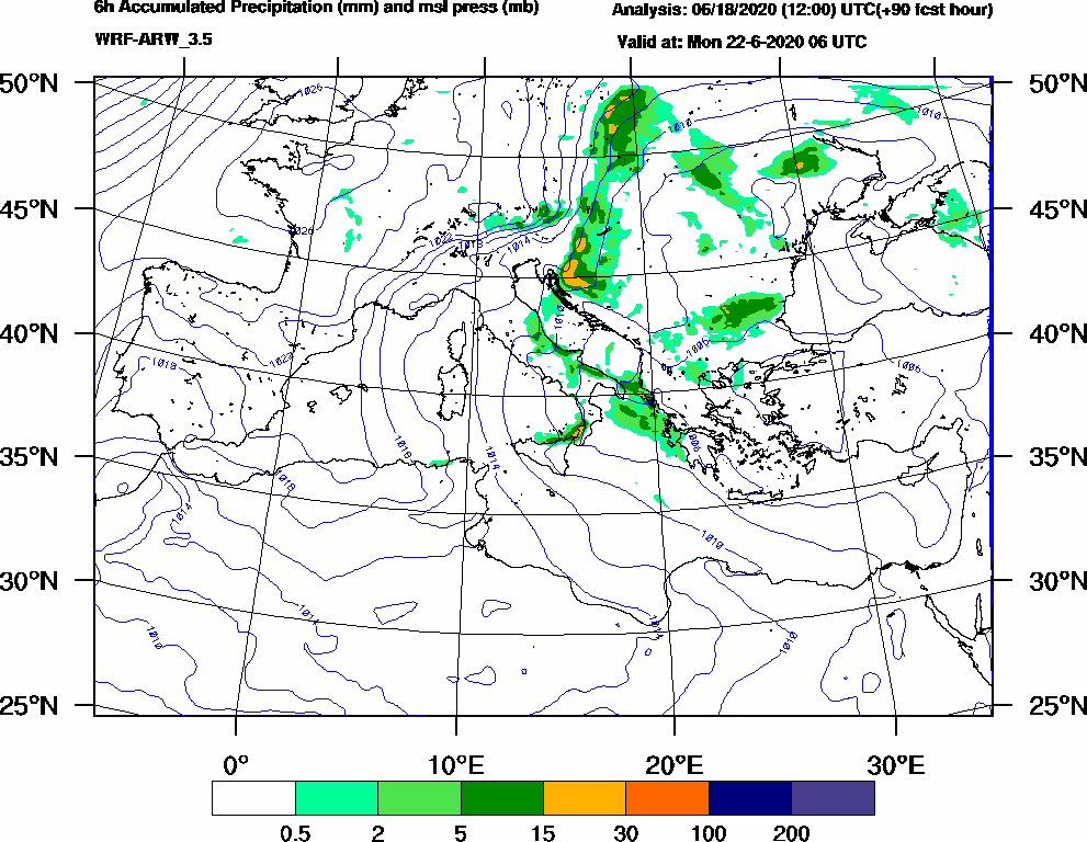 6h Accumulated Precipitation (mm) and msl press (mb) - 2020-06-22 00:00