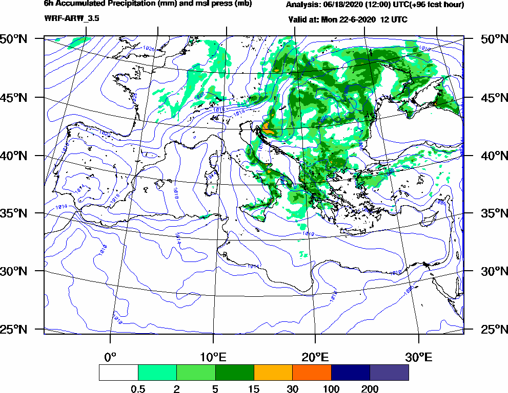 6h Accumulated Precipitation (mm) and msl press (mb) - 2020-06-22 06:00