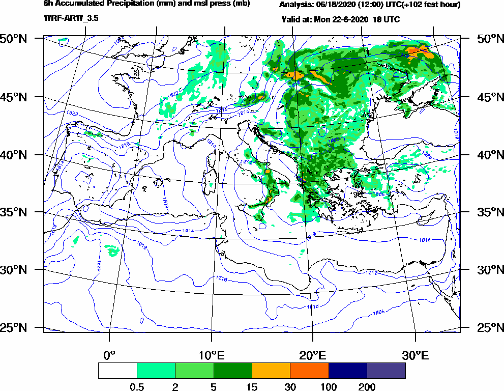 6h Accumulated Precipitation (mm) and msl press (mb) - 2020-06-22 12:00