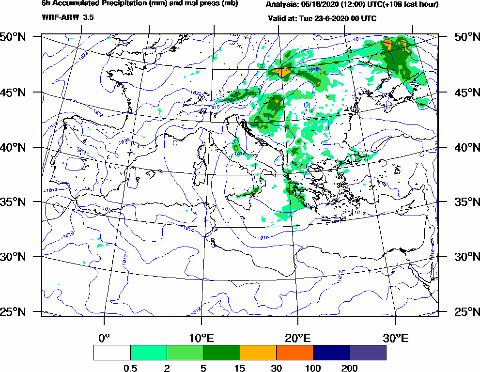 6h Accumulated Precipitation (mm) and msl press (mb) - 2020-06-22 18:00