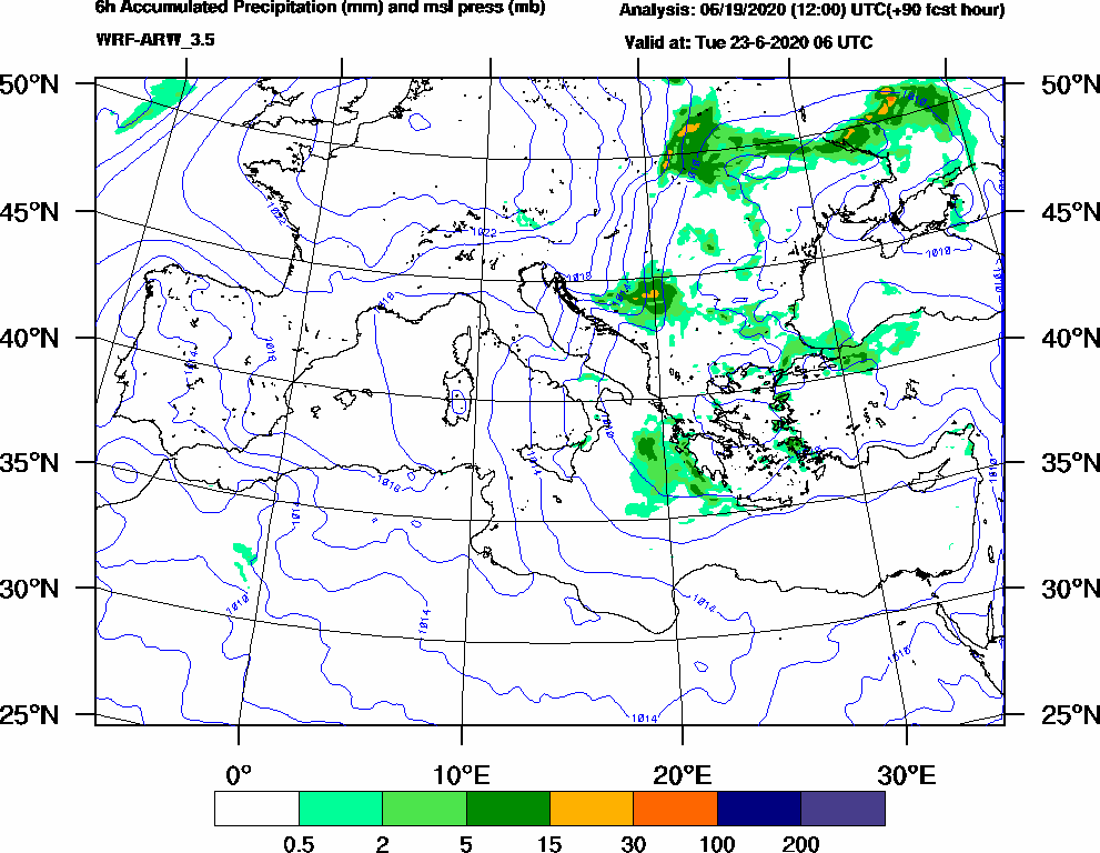 6h Accumulated Precipitation (mm) and msl press (mb) - 2020-06-23 00:00