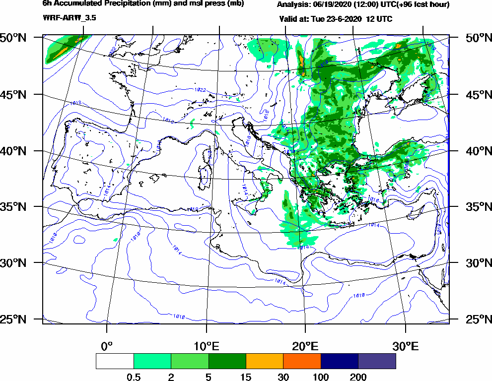 6h Accumulated Precipitation (mm) and msl press (mb) - 2020-06-23 06:00