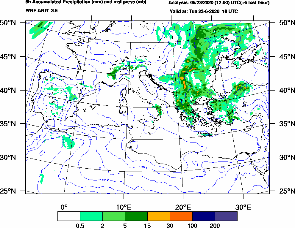 6h Accumulated Precipitation (mm) and msl press (mb) - 2020-06-23 12:00