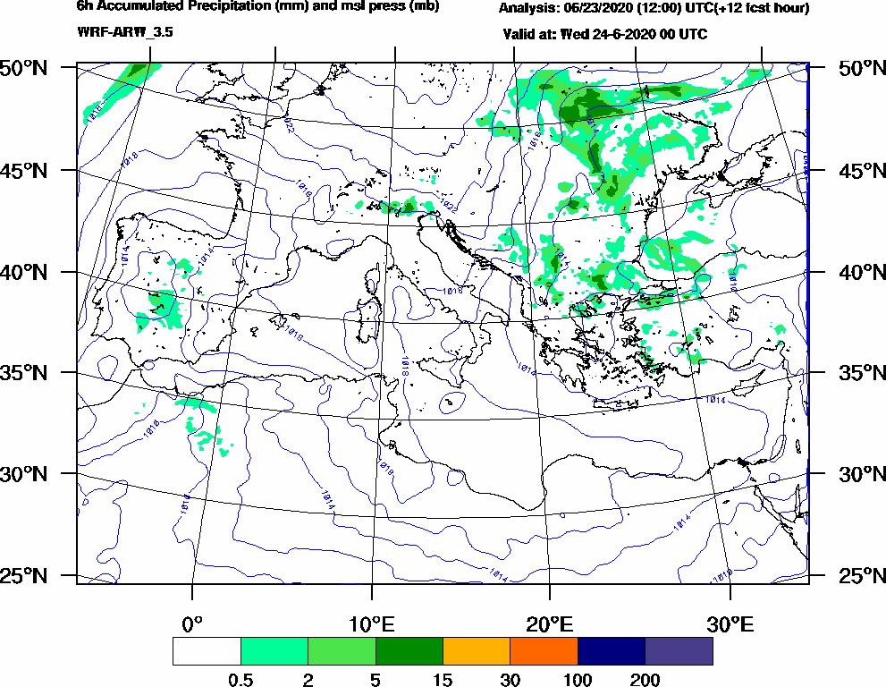 6h Accumulated Precipitation (mm) and msl press (mb) - 2020-06-23 18:00