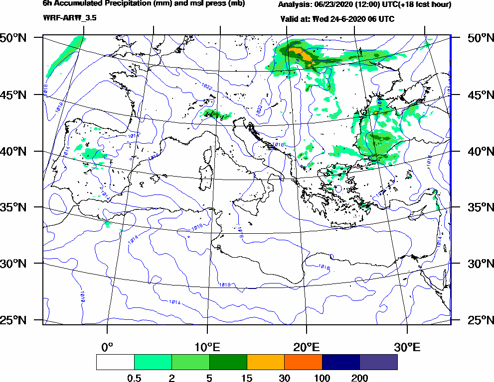 6h Accumulated Precipitation (mm) and msl press (mb) - 2020-06-24 00:00