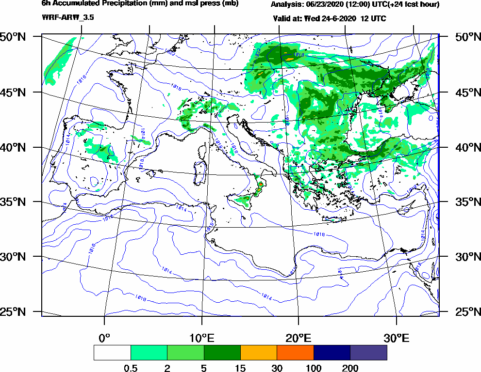 6h Accumulated Precipitation (mm) and msl press (mb) - 2020-06-24 06:00
