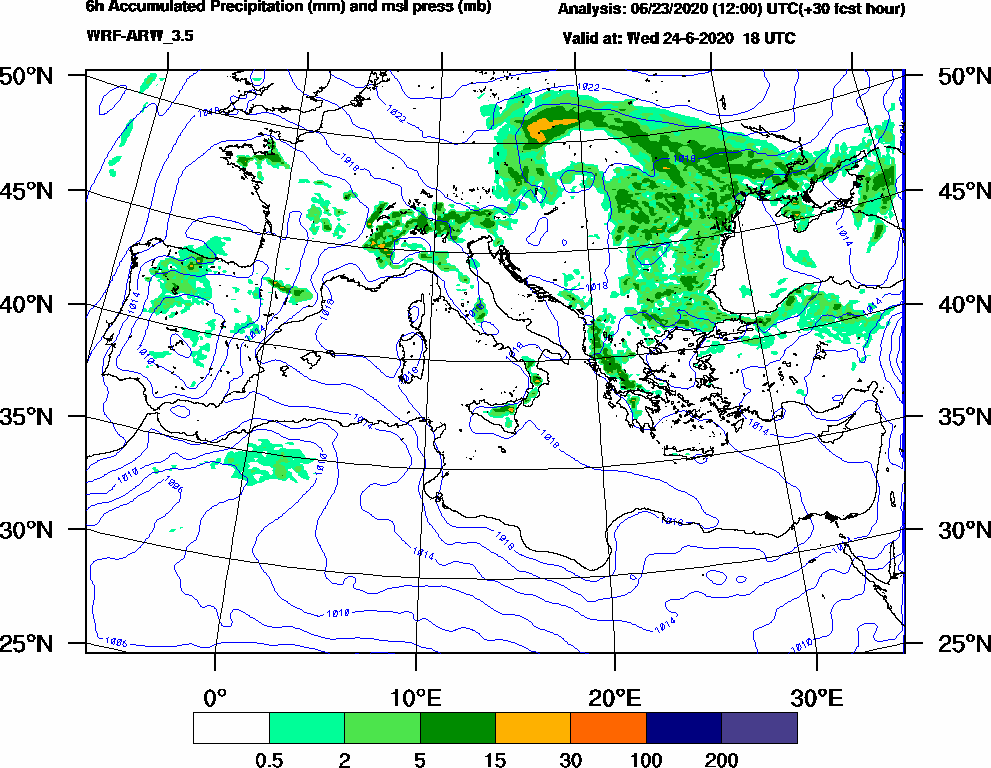 6h Accumulated Precipitation (mm) and msl press (mb) - 2020-06-24 12:00
