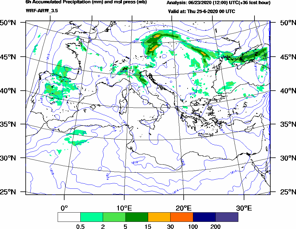 6h Accumulated Precipitation (mm) and msl press (mb) - 2020-06-24 18:00