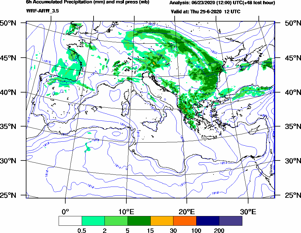 6h Accumulated Precipitation (mm) and msl press (mb) - 2020-06-25 06:00