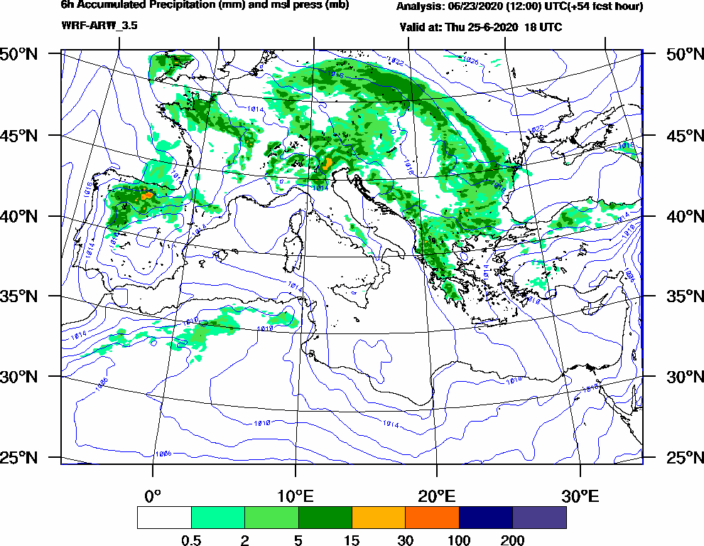 6h Accumulated Precipitation (mm) and msl press (mb) - 2020-06-25 12:00
