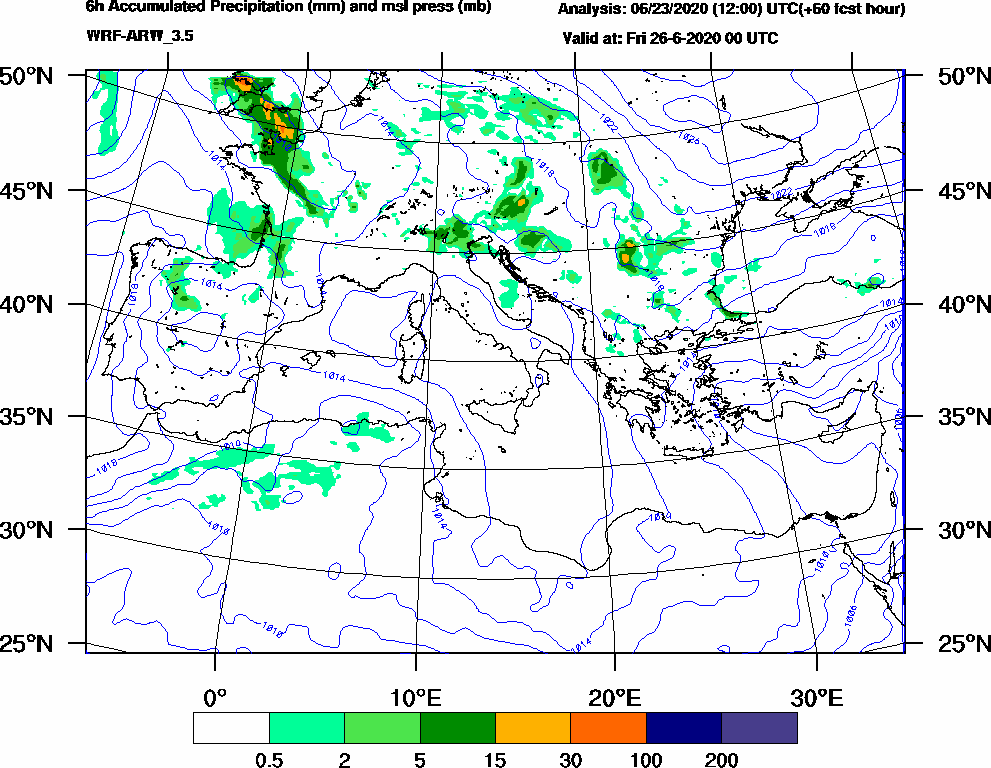 6h Accumulated Precipitation (mm) and msl press (mb) - 2020-06-25 18:00