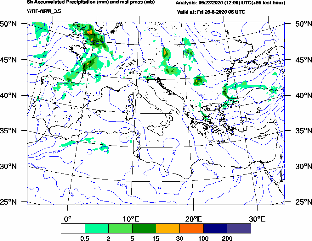 6h Accumulated Precipitation (mm) and msl press (mb) - 2020-06-26 00:00