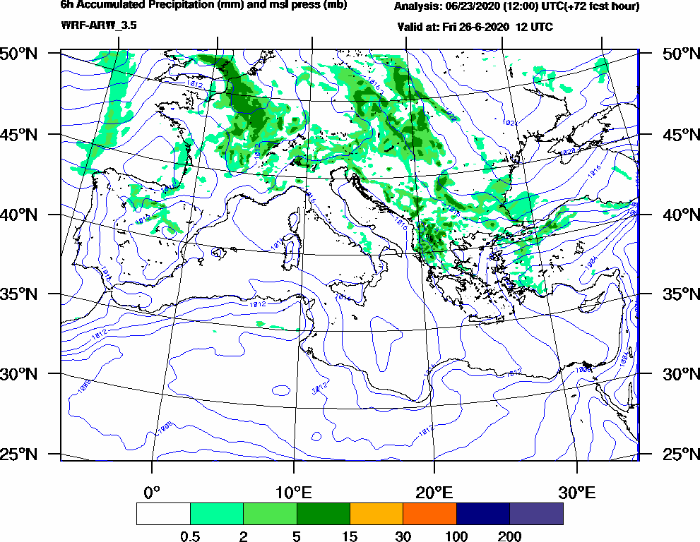 6h Accumulated Precipitation (mm) and msl press (mb) - 2020-06-26 06:00