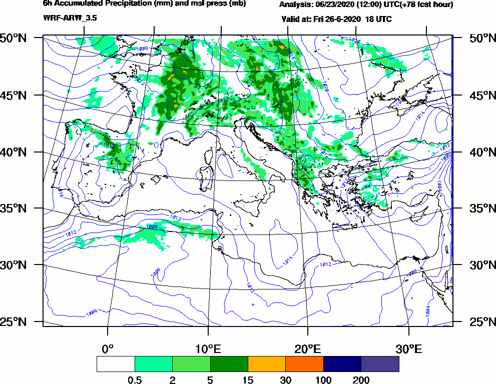 6h Accumulated Precipitation (mm) and msl press (mb) - 2020-06-26 12:00