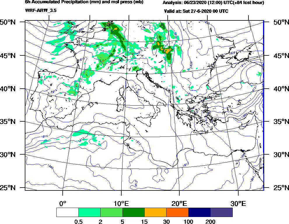 6h Accumulated Precipitation (mm) and msl press (mb) - 2020-06-26 18:00