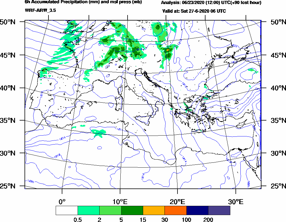 6h Accumulated Precipitation (mm) and msl press (mb) - 2020-06-27 00:00