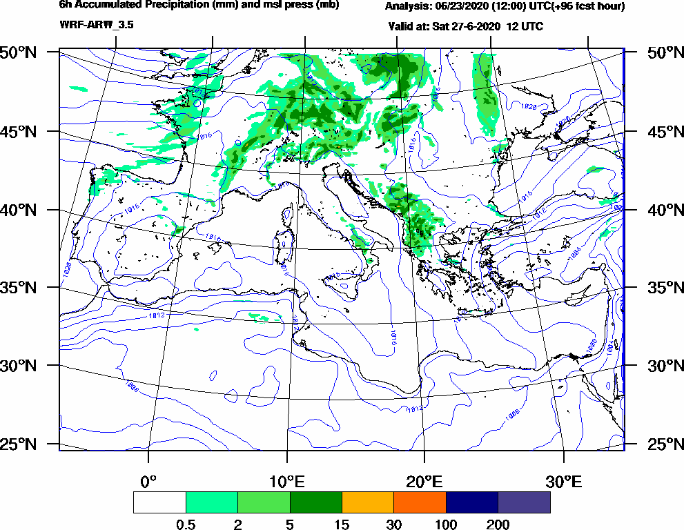 6h Accumulated Precipitation (mm) and msl press (mb) - 2020-06-27 06:00