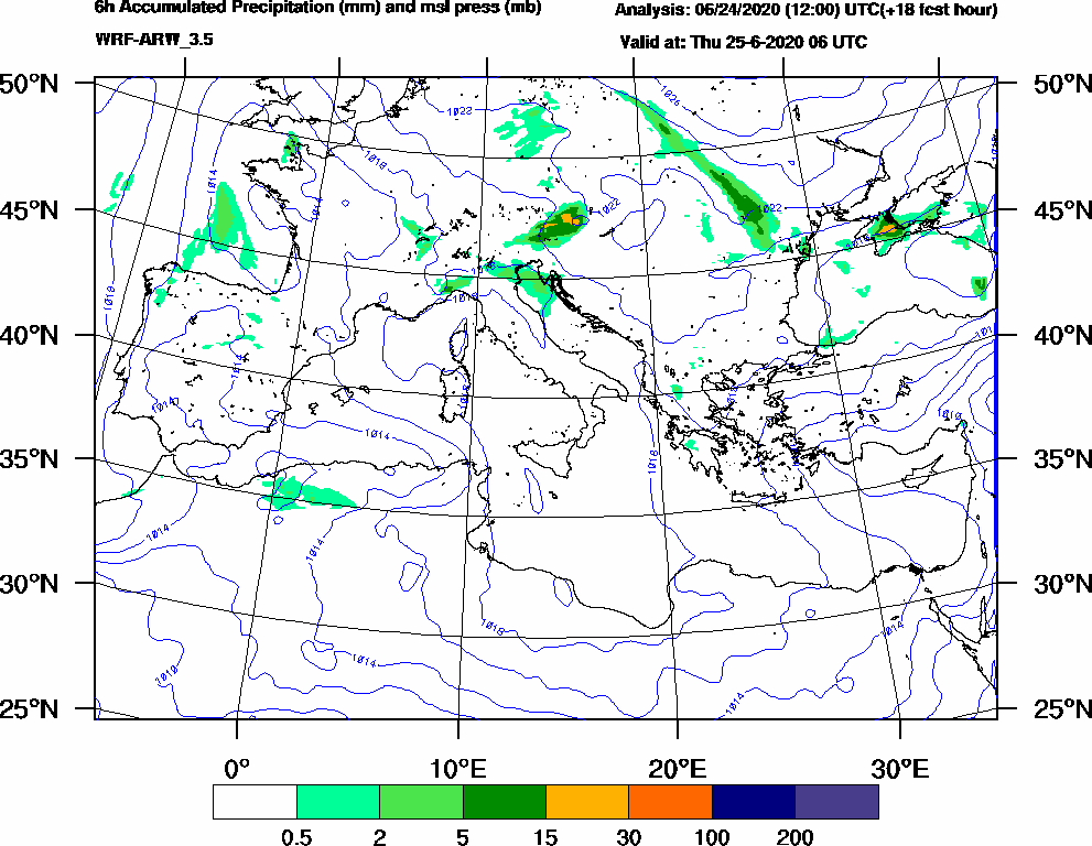 6h Accumulated Precipitation (mm) and msl press (mb) - 2020-06-25 00:00