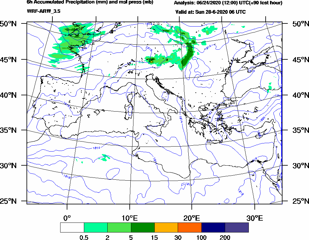 6h Accumulated Precipitation (mm) and msl press (mb) - 2020-06-28 00:00