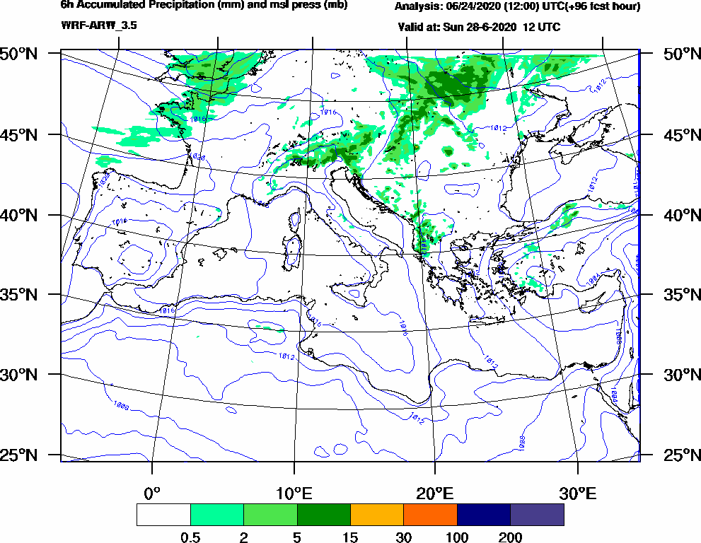 6h Accumulated Precipitation (mm) and msl press (mb) - 2020-06-28 06:00